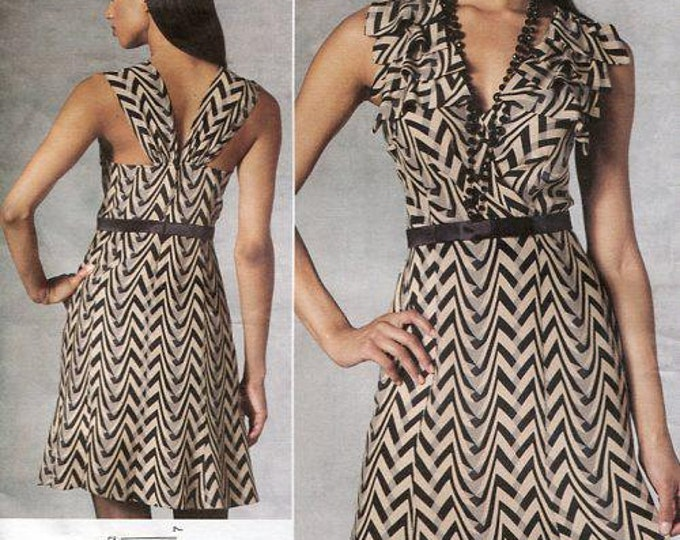 Free Us Ship Vogue 1190 Sewing Pattern American Designer Tracy Reese Dramatic Back Dress Size 6 8 10 12 14,Bust 30.5 - 36 (Last size left)