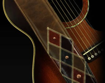 Patchwork Guitar Strap, Guitar Strap Leather:  Dundwell Guitar Strap