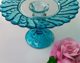 Individual Cupcake Stand From Vintage Glass in Aqua