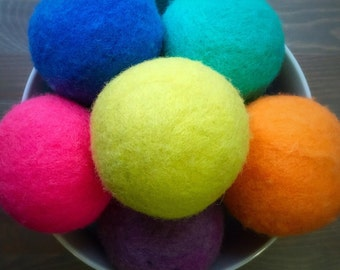 Ovella Wool Dryer Balls: The Doces Collection set of Three (3) Bright, solid colors, colorful, orange, pink, green, blue, purple, yellow