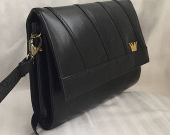 Black Leather Crown Emblem Shoulder Bag with optional strap
