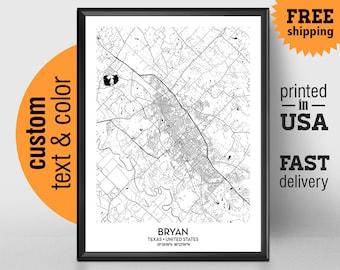 Bryan Texas Map, Bryan City Print, Bryan Poster, Personalized Wedding Map, Art Gift For Couple, Custom city map
