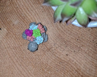 Mini Turtle with Succulent Shell Key Charm