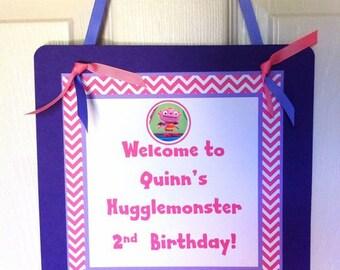 Girl Hugglemonster Welcome Door Sign