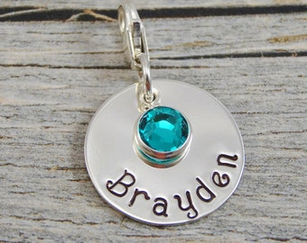 Hand Stamped Jewelry - Personalized Jewelry - Charm For Bracelet - Sterling Silver Circle - Name & Birthstone - Lobster Clasp or Slider Bail