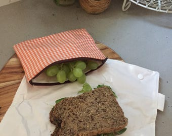 Re-usable sandwich wrap and snack bag.