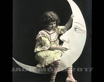 Beautiful Vintage Photo African American Woman on Prop Moon - Playing Banjo!