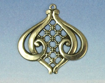 2 pcs Victorian Art Nouveau Inspired Charm antique silver brass stampings M-121