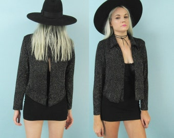 90s Sparkly Black Cardigan with Open Back, Size Medium, Vintage Slinky Button Up Top, Metallic Silver, Glittery, Raver Club Kid, Disco
