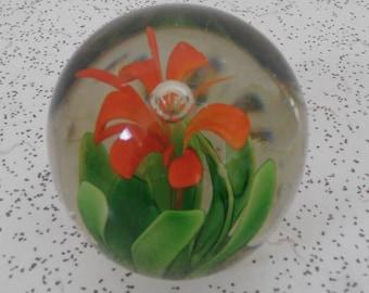 flower...vintage glass paperweight