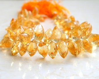 Citrine Gemstone Briolette Faceted TearDrop Marquis 10.5 to 11mm 6 beads
