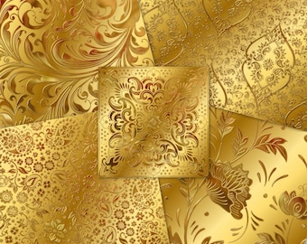 Gold Ornate Metal Papers  | Shiny Metallic Damask Scrolly Swirls Florals |  Instant Download