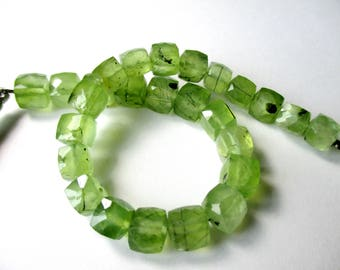 Moss Prehnite faceted cube- 7mm- 8 cubes