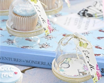 Alice in wonderland,Truly Alice Cake Dome, Tag & Doily Setshabby chic,mad hatter,tea party,wedding,tableware,china look