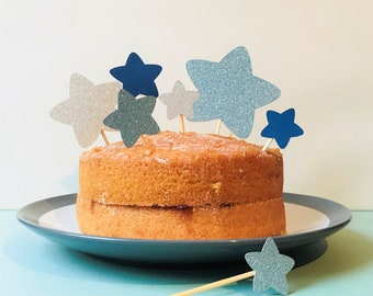 Blue and silver star cake topper set, star topper for birthday cake, perfect for a 1st birthday party, baby shower or for a star party theme