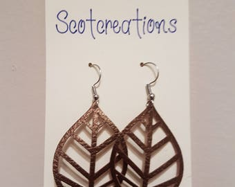 Faux Leather Leaf Earrings - Caramel with Silver Plated Hooks