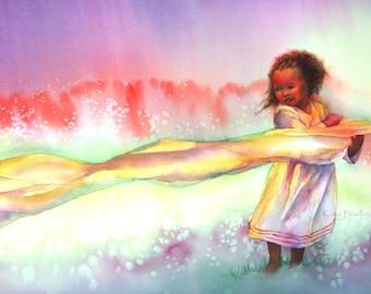NEW Ethiopian Wind Dancer 10x20 art print,  long format