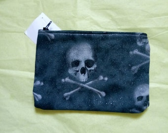 Skulls and crossbones glitter small make up bag goth punk