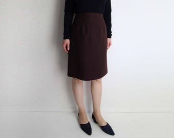 VINTAGE Skirt Pencil Skirt Brown Wool 1980s Small