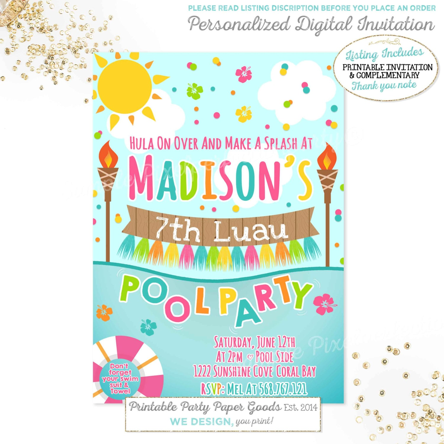 Luau Pool Party Invitation Luau Birthday Invitation Luau Pool