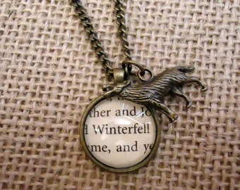 Game of Thrones Winterfell Book Page Necklace with Direwolf