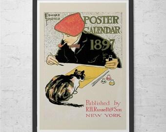 ANTIQUE CAT POSTER Print Belle Epoque Poster Antique Americana Art Nouveau Poster Cat Wall Art Antique Cat Print