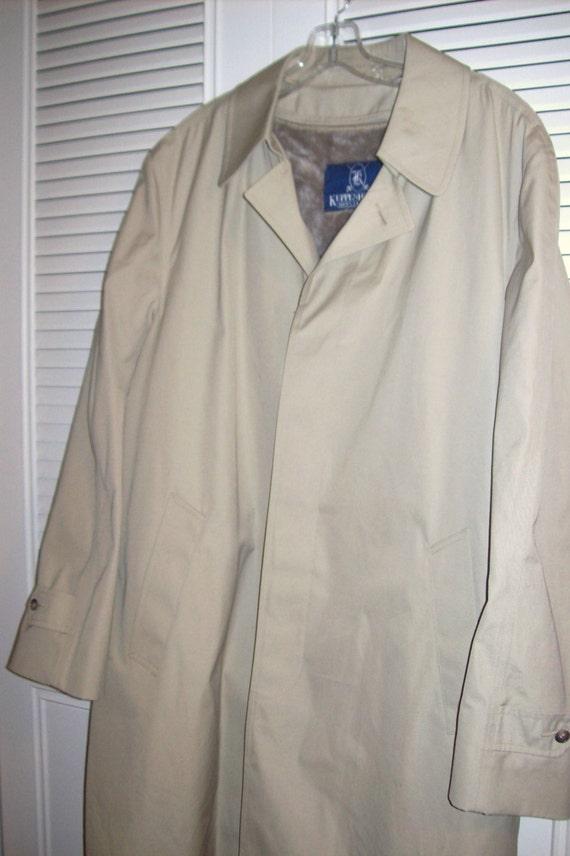 Vintage Kuppenheimer Men's Khaki Topcoat w Thick Pile Lining PERFECT! 44 Reg t6ij0SF0R