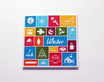 Winter Magnet, Mosaic magnet, Kitchen Magnet, Fridge magnet, Stocking stuffer, Bright Colors, Winter season, skates, snowflake (7206)