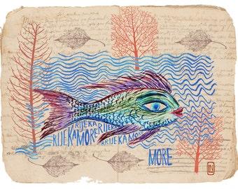 Fish wall art print, fish art printables, printable wall art, digital wall art, digital collage, still life, fish wall print