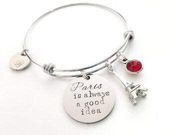 Paris Bracelet - Paris Jewelry - France Bracelet - France Jewelry - Eiffel Tower Bracelet - Paris Charm - Anniversary Gift - Best Friend