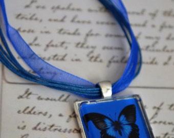 Blue Butterfly Art Pendant, Butterfly Necklace, Swallowtail Butterfly Pendant, Wearable Art Pendant, Blue Butterfly Art Necklace