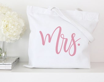 Mrs Tote Bag - White Bachelorette Party Tote Bags Bridal Tote Bags, Wedding Totes, Custom Tote Bags, Market Bag, Canvas Tote