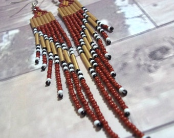 Carpal Tunnel Going Out of Business Sale! Bold rust, gold, long seed bead, fringe, statement earrings, bold earrings, colorful earrings, sta