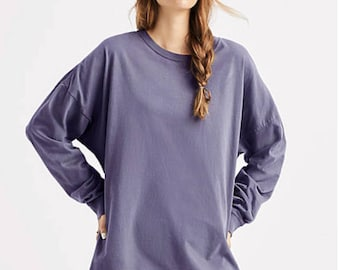Embroidered Monogrammed Comfort Colors Oversized Long Sleeve T-shirt