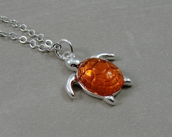 Sea Turtle Necklace with Amber Shelll , Silver Plated Sea Turtle Charm on a Silver Cable Chain