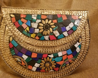 Mosaic collection - vintage clutch - kaleidoscope