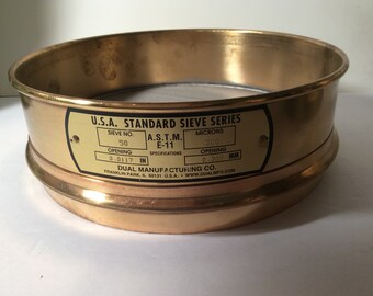 "Vintage Dual Manufacturing Co Scientific Brass Sieve  #50  300 microns fine sieve  8"""
