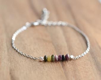 Sterling Silver Tourmaline Bracelet // 4mm Tourmaline Bead Bracelet // Bridesmaid Gift  // Tourmaline and Gold Bracelet // Gift for Her
