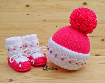 Pink Pom pom Hat, Baby Girl Hat and Booties, White Baby Beanie, Cable Knitted Hat, Baby Girl Boots, Crochet Baby Shoes, Winter Clothes Set.