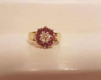 Vintage diamond ruby paste ring
