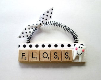 Floss Dentist Teeth Scrabble Tile Ornaments