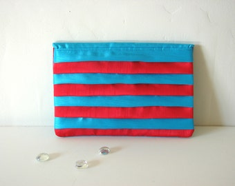 Blue and Red Ruffle Clutch