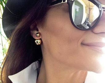 Pearl Double Sided Pearl Double Ball Gold Silver Tribal  Front Back High Low Cuff  Pearl Jacket Earrings Double Earring