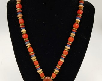 Carol Halmy Hand Made Porcelain Pendant with Beads Necklace