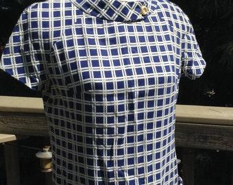 Vintage Blue White Grid Dress Mad Men