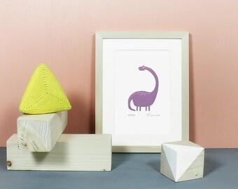 Dino | Original, Linoldruck, Dinosaurier, Grafik, Druck, Linolschnitt, Poster, Bild, Tier, Illustration, Kinderzimmer, Jungs, süß, lila A5