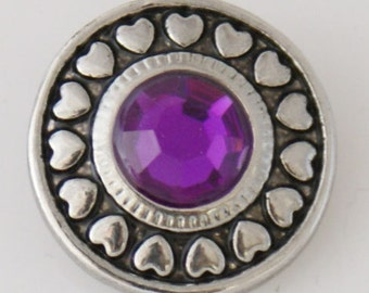 1 PC 18MM Purple Heart Rhinestone Silver Candy Snap Charm kb7747 CC3217