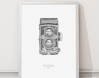 Rolleiflex camera print | Camera print | Camera printable |  Large Printable Poster |  Digital Download | Black and White