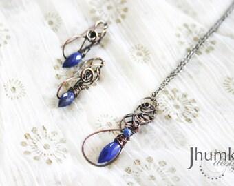 BESPOKE Shyama Sundara /// Necklace + Earrings set by Jhumki - designs by raindrops