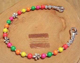 EXTRA EXTRA LARGE Swarovski pearl multicolor medical alert bracelet size 7.5 inches